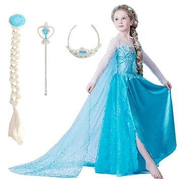 2018 Elsa Dress Girls Dresses Princess Cosplay Party Dress Vestidos fantasia Anna Halloween Elsa Costumes Teen Kids Clothes