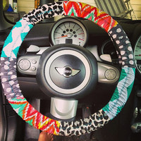 Aztec inspired steering wheel cover