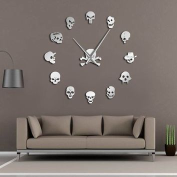 Different Skull Heads Wall Art Giant Wall Clock Big Needle Frame less