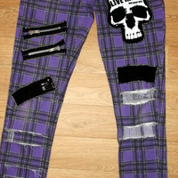 Punk skinny fit jeans, Upcycled and modified punk jeans, punk trousers, punk clothing - size 12