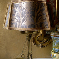 Vintage Italian Florentine Brass Table Lamp with Handmade Fortuny Lampshade - Made in Italy