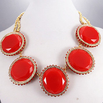 FREE SHIPPING 2013 Classic oval necklace, diamond neckace, Statement Necklace,bridesmaid gifts, Summer Trends Accessories / Red