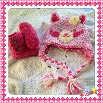 Kitty Hat Beanie Baby Booties Set Puppy w-Flower Hand Crochet ankel boots shoes Baby Shower Gift w- ear flaps Newborn Infant Photo Prop