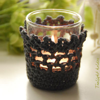 Crochet PATTERN: Romantic Tea light holder - adjustable size - INSTANT DOWNLOAD