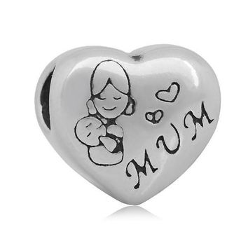 European Charm Big Hole Heart Beads MUM Message MOM Fits Pandora Bracelet
