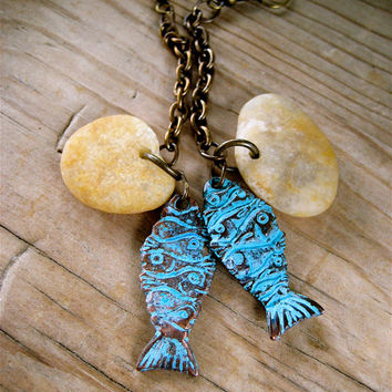 Sea Pebble and Fish Earrings Extra Long Dangles on Antiqued Brass Chain Rustic Beachy Earrings on Brass Ox Hooks