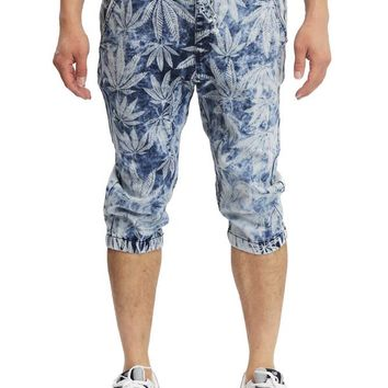 Men's Leaf Print Denim Jogger Shorts JC378 - F5E