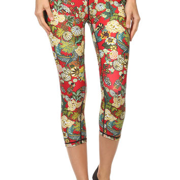 Hidden Dragon Dream Capris - Vermillion