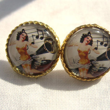Pin up Girl Singer Earring Vintage Retro Woman by TheDorothyDays