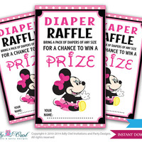 Minnie Mouse Diaper Raffle Tickets Printables Girl Baby for a baby shower in pink and black, yellow. Minnie Mouse celebrations -oz04