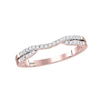 14kt Rose Gold Women's Round Diamond Contoured Enhancer Wedding Band Ring 1/6 Cttw - FREE Shipping (US/CAN)