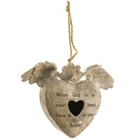 Heart with Angel Wings Birdhouse