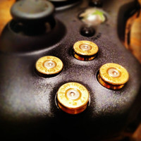 Xbox 9mm bullet button Controller Video Game Geekery gun brass shells handmade handcrafted handgun bullets games call of duty gears of war