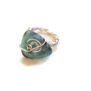 Larimar Gemstone Ring Wire-Wrapped in Silver - Size 6 3/4 - RIN072