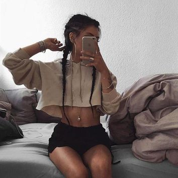 DCCKH3L Women Fashion Sport Casual Long Sleeve Hooded Sweater Crop Tops