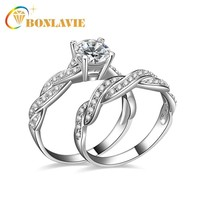 2 Ply Fashion Wedding Engagement Ring for Women Sliver Plated Zircon Rings Jewelry Female Exquisite Rings Gift