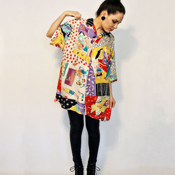 Vtg 80s- Colorful, Silk, Oversized, Boyfriend Shirt, Graphic, unique abstract print, rainbow, collared button up blouse - Size S M L XL