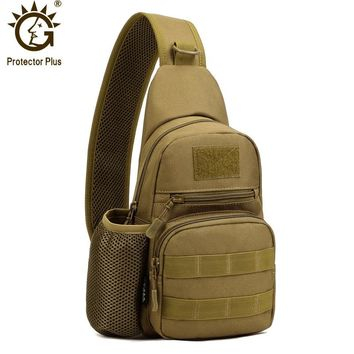 Protector Plus Tactical Sling Chest Pack Molle Military Nylon Shoulder Bag Men Crossbody Bag With Water Bottle Holder 4 Colors