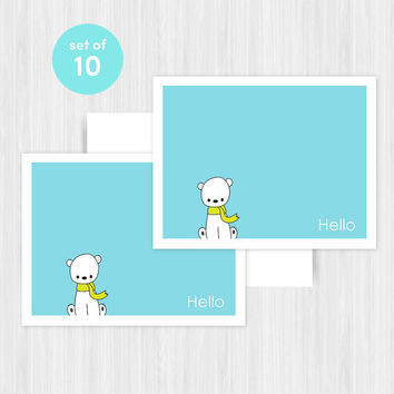 Polar Bear Hello Greeting Card Set Blank Handmade Notecards Note Cards Notes Boxed Set Stationery Gifts For Friend Her Teacher Pack of 10