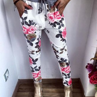 SIMPLE - Women Retro Floral Design Casual Slim Pants a10107