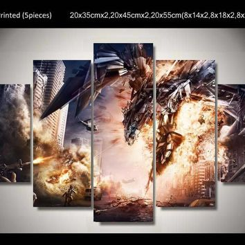 Anime Dragon 5 Piece Painting Wall Art Canvas