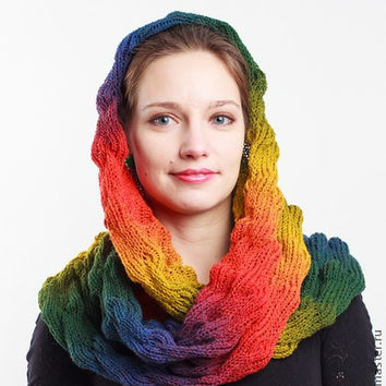 Knit rainbow scarf,Cowl scarf, Loop scarf, Circle scarf, Striped infinity scarf