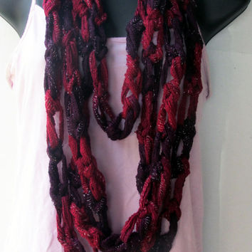 Spring Summer Scarf, Purple Crochet Long Layered Crochet Necklace Scarf, Infinity Cowl, Chunky Statement, Summer Trends, Back to School