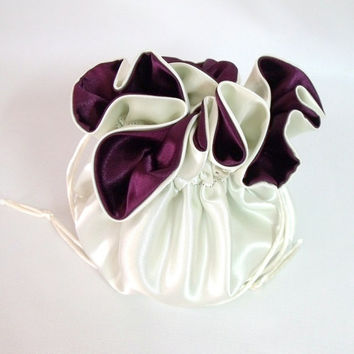 Wedding Bag Satin Bridal Money Purse Ivory and Burgundy No Pockets