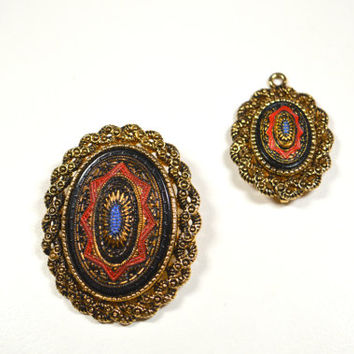 Sarah Coventry Old Vienna Pin Brooch and Pendant Set Convertible Beautiful Set Goldtone Filigree Accents Red Blue Black Mosiac Design
