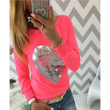 Heart Pattern Sequined Long Sleeve Shirt