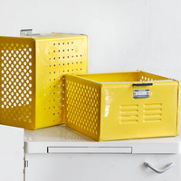 1950s Reclaimed Locker Basket Refinished in Mellow Yellow