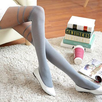 Women Pantyhose Female Transparent Tattoo Tights 40D Sexy Seamless Velvet Pantyhose Hosiery Charming Long Stockings W1