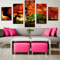 5 Panel maple-in-autumn Modern Home Wall Decor Canvas Picture Art Print WALL Painting Set of 5 Each Canvas Arts Unframe