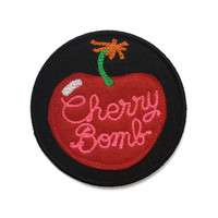 Cherry Bomb - Chainstitch Patch Pink