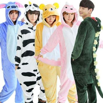 VONG2W Autumn spring winter flannel lovers couples women animal pajamas one piece cartoon sleepwear kugurumi cheap adult animal onsies