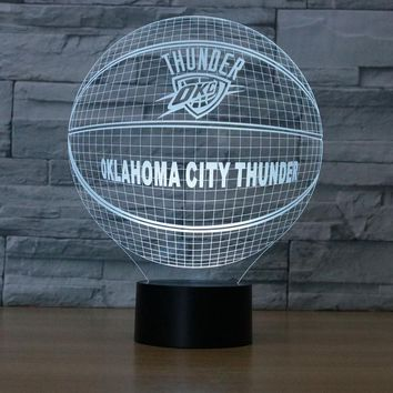 3D LED Night Light OKLAHOMA CITY THUNDER USB Touch Switch NBA American Basketball Club Table Lamp Luminaria de Mesa Home Decor