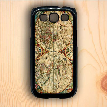 Dream colorful Vintage Old Retro World Map Samsung Galaxy S3 Case