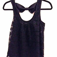 Floral Lace Bow Accent Tank Top