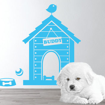 Dog house wall decal -  Puppy Dog Theme -  Personalized Dog house Wall Decal - Dog Name Decal -