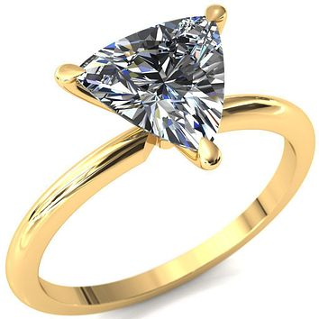 Gracey Trillion Moissanite 3-Claw Prong Engagement Ring