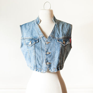 Vintage Denim Vest | 80s Jacket Denim Jacket Festival Jacket Boho Hippie Cropped Jean Jacket 90s Romantic Grunge Bongo Cropped Denim Vest