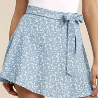 Put a Record On Light Blue Floral Print Wrap Skirt