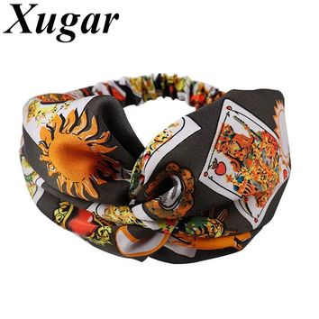 Women Hair Accessories Turban Wide Headband Floral Prints Retro Bandanas Elastic Hair Bands Gum Hair for Girls