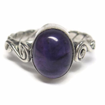 Handmade Vintage Sterling Scrolling Twisted Oval Amethyst Ring Size 7