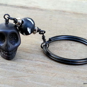 Black Skull Keychain, Black Stone Skull Carved Bone Keychain, Men's Keychain, Sugar Skull Goth Tribal Keychain Men Accessory, Gift for Him