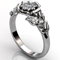 Platinum diamond unusual unique cluster floral engagement ring, bridal ring, wedding ring ER-1074.