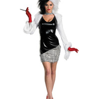Cruella De Vil 101 Dalmatians Costume Adult Large 12-14 Wig Included  Disney NWT