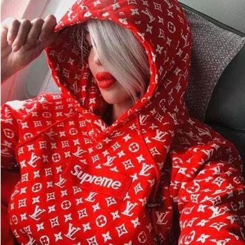 """""""Louis Vutitton LV×Supreme"""" Fashion Casual Letter Floral Print Long Sleeve Loose Hooded Sweater Tops"""
