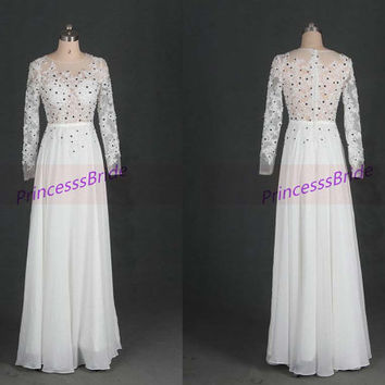 2014 long white chiffon prom dresses,sexy vintage gowns for evening party,cheap tulle long sleeves wedding dress hot.