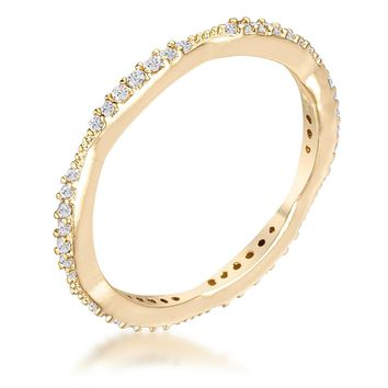 .42Ct Dainty 18k Gold Plated Micro Pave CZ Stackable Eternity Ring, Size 4